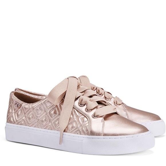 8ff9a6a74da62c Tory Burch Marion Rose Gold Quilted Sneakers. M 5b3c34802beb79b02029eb2b